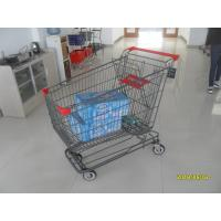 Buy cheap Grey Powder Coating Asian Type Wire Shopping Trolley With 4 Swivel 5 Inch Casters from wholesalers