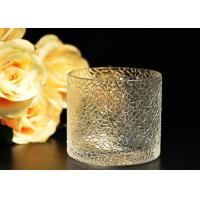 Leaf Pattern decorating clear glass candle holders for wedding , 18oz Manufactures