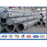 Q345 steel utility poles 50 years Life Time , steel light pole with Base Plate/ Anchor Bolts / Climbing Rungs Manufactures