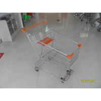 China Low Carbon Metal Wire Shopping Trolley Cart 100L With 4 Swivel 4 Inch Autowalk Casters on sale