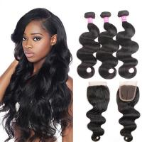 Body Wave Human Hair Bundles With Closure Brazilian Hair Weave 3 Bundles with Closure Remy Hair weft Manufactures