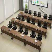 Wooden Classroom Training Room Desks / Foldable Conference Table Tops With Wheels Manufactures