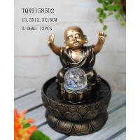 Little Monk Resin Water Pump Fountain With Revolving Ball 13.5 X 13.5 X 18 Cm Manufactures