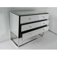 Quality Stainless Steel Base Mirrored Cabinet Chest , Antique Mirror Table 3 Drawers for sale