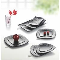 Porcelain Dinnerware Sets / Melamine Black Matte Dinner Set Plate Unique Shape Manufactures