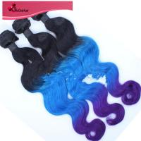 "100% Human Hair Weave Brazilian Virgin Ombre T1B/Blue/Purple# Body Wave Ombre Human Hair Wave 8""-28"" Manufactures"