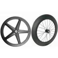 Quality Light Weight Carbon Track Bike Wheels Tubular Front 5 Spoke With Super Strength for sale