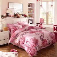 Luxury 4 Piece Cotton Bedding Sets King Size / Twin Size Embroidered Flower Manufactures