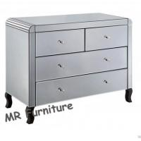 Silver Mirrored Side Board With 4 Storage Drawers Bevelled Edge Mirror Manufactures
