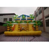 Yellow Commercial Inflatable Slide , Inflatable Stair Slide With Two Slide Way Manufactures