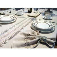 100% Linen Cotton Tablecloths , Country Style Leaves Vintage Embroidered Tablecloth Manufactures