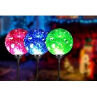 Quality 4500K - 5500K Solar Ball Lights / Solar Powered Crackle Glass Globe Lights for sale