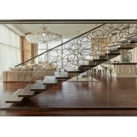 Straight Flight Glass Stair Railings Staircase Interior With Solid Wood Tread Manufactures