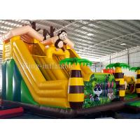 Cheap PVC Inflatable Green Palm Tree Funny Animal Zoo Bouncer Castle For Kids