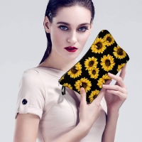 Sunflower Print Polyester Makeup Bag For Toiletries Manufactures