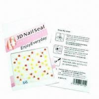 Durable 3D Art Nail Sticker, Made of PET, Customized Designs and Sizes are Accepted Manufactures
