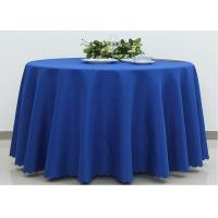 Dark Blue Wedding Textile Round Linen Table Cloths , 90 / 108 Inch Round Tablecloth Manufactures