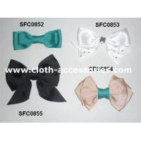 China Bowknot Green Fabric Flower Corsage Prom Gross Grain For Teenage Hair Bows on sale