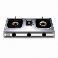 Triple Burner Gas Stove with Stainless Steel Saucer Tray and Heat Input of 2.5/0.9/3.0kW Manufactures