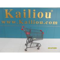 American Style Metal Supermarket 4 wheel shopping trolley with grey powder coating Manufactures