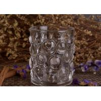 Transparent Thick Clear Glass Candle Holders Set With Nailed Pattern Manufactures