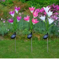 Solar Powered Outdoor Garden Stake Lights with 4 Lily Flower, Multi-color Changing LED Solar Lights Manufactures