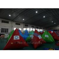 Triangle Mutil Color Inflatable Water Buoy , Digital Printing Swimming Area Buoy Manufactures