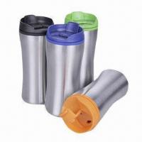 Travel Mugs, Made of Stainless Steel and PP for Inner, with Food Safe Grade Manufactures