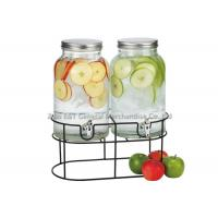 1.5 gallons Vintage dual beverage dispenser with stand & Storage jars For juicer  , wine drinking Manufactures