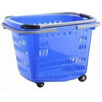 Big Shopping Basket With Wheels / Plastic Rolling Cart With Handle Aluminum Alloy Manufactures