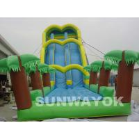 Green Large Inflatable Water Games Blow Up Water Slide For Theme Park Manufactures