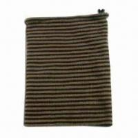Knitted Acrylic Neck Warmer with Drawstring on Top and Knitted Stripes, Reversible Style Manufactures