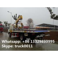 Quality Dongfeng 4*2 flatbed wrecker tow truck with telescopic/knuckle boom crane for for sale