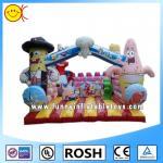 Love Cartoon Inflatable Combo Bouncers Spongebob Bouncy Castle Manufactures