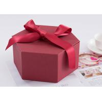 Hexagon Custom Printed Gift Boxes Size 24.5 * 21.3 * 10.5cm With Ribbon