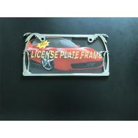 Silver Chrome Metal License Plate Frames With Beautiful Palm Trees Pattern Manufactures