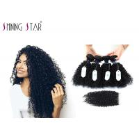 China Unprocessed Brazilian Curly Hair 4 Bunldes With Closure Kinky Curly Natural Color on sale