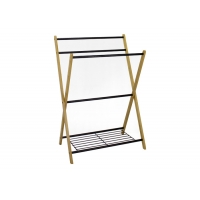 Knock Down 5KG Bamboo Towel Rack With Bottom Shelf Manufactures
