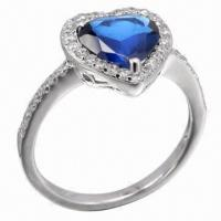Sapphire Silver Ring, Available in Various Styles, OEM and ODM Orders Accepted Manufactures