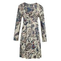 Roll Printed Ladies Casual Dresses , Flower Printed Organic Cotton Jersey Long Dress Manufactures
