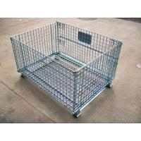 China Heavy Duty Galvanized Foldable Wire Mesh Pallet Cage With Cold Drawn Steel on sale
