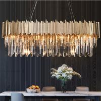 Quality Gold Rectangle Drop Crystal Pendant Lamp For House Living room Bedroom Lighting for sale