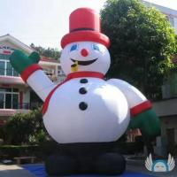 8m Height Inflatable Cartoon Characters Snow Man PVC Material For Advertising Manufactures