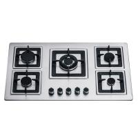 Sliver Stainless Steel 5 Burner Gas Hob Built In 110/220V Ignition Square Pan Support Manufactures