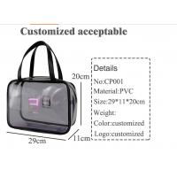 Clear PVC Handbags With Zipper , Customized Piping Woman Makeup Tote Bag Manufactures
