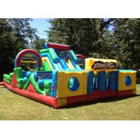 Yellow and blue basic training commercial bounce inflatable obstacle course slide Manufactures