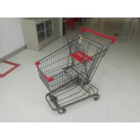 Grey Powder Coating 80L Supermarket Shopping Carts With 4 Inch PU Casters Manufactures
