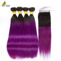 Buy cheap Hair Pre-colored T1B/Pur 100% Human Hair Brazilian Hair Straight 4 Bundles With from wholesalers