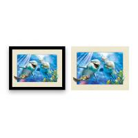 Home Decoration 3D Lenticular Printing Service 12x16 Inch Framed Dolphin Picture Wall Arts Manufactures