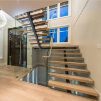 Contemporary floating staircase with wood tread invisible stringer straight stairs Manufactures